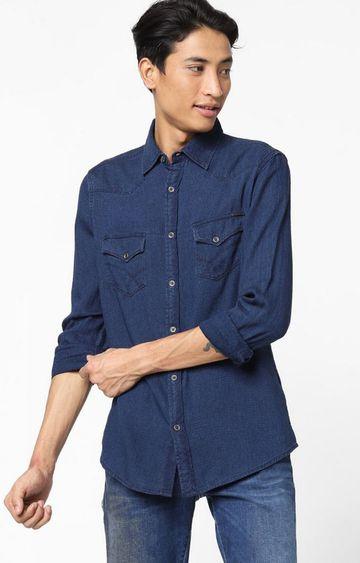 GAS | Men's Kant solid blue denim shirt