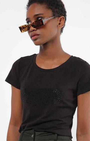 GAS | Slim Fit Round Neck Half Sleeves Embellished Girl Gas T-Shirt