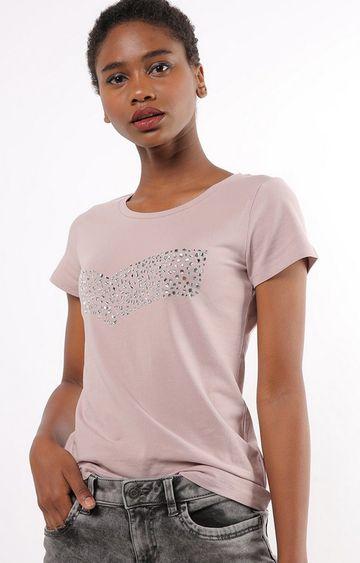 GAS   Slim Fit Round Neck Half Sleeves Embellished Gas Logo Sequins T-Shirt