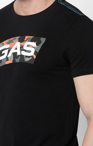 GAS   Scuba Logo Camouflage Print Round Neck Black T-Shirt