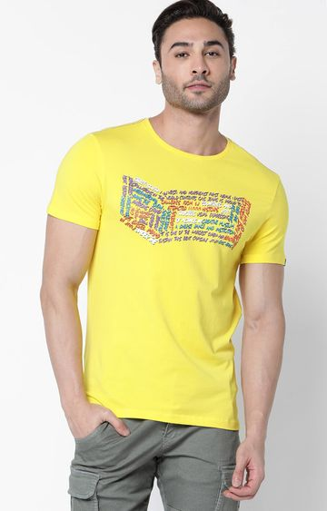 GAS | Scuba Written Printed Yellow T-Shirt