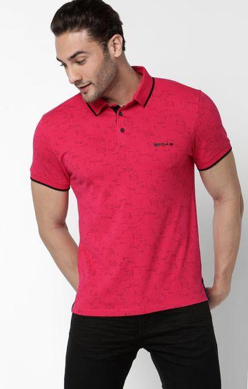 GAS | Jhonny Printed Pink Polo T-Shirt