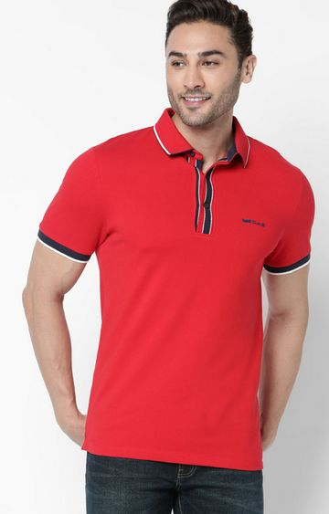 GAS | Agap/S Solid Red Polo T-Shirt