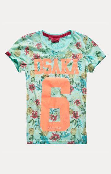Superdry | Osaka 6 Pineapple Green Printed T-Shirt