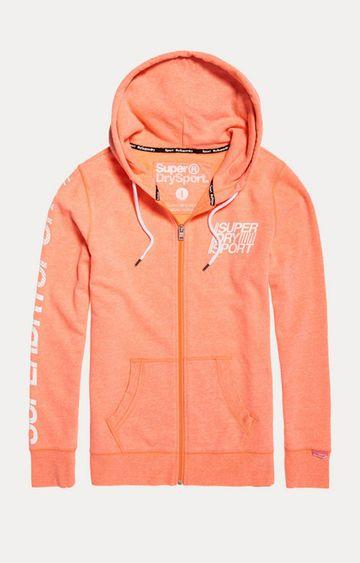 Superdry   Sd Sport Essentials Orange Printed Hoodie