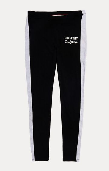 Superdry | Tri League Graphic Black Solid Tights