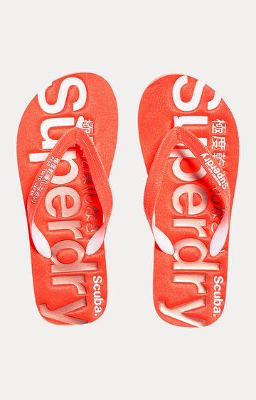 Superdry   Fluro Coral Flip Flops