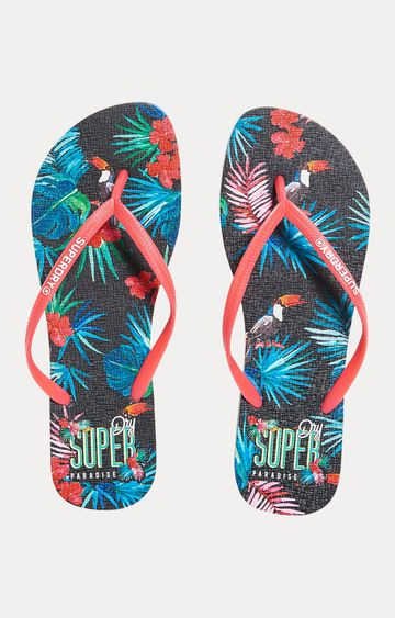 Superdry   Coral and Navy Flip Flops