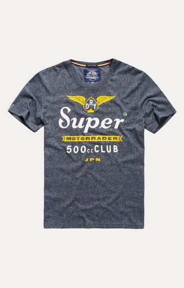 Superdry | 500 Club Motorrader Blue Printed T-Shirt