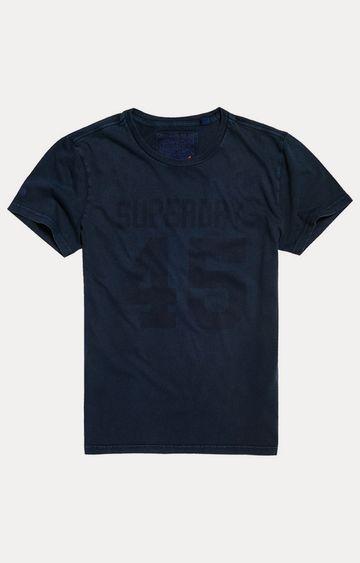 Superdry   Vintage Ink Blue Printed T-Shirt