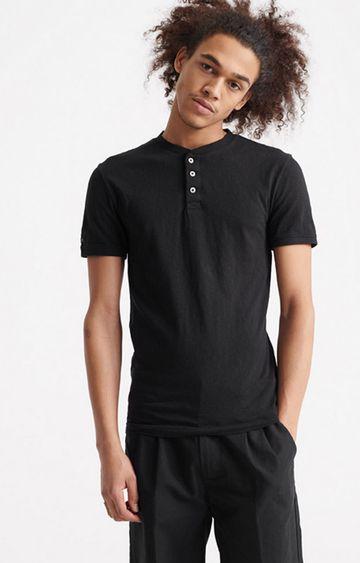 Superdry | Black Heritage Short sleeve Henley T-Shirt