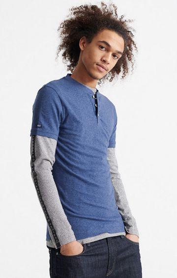 Superdry | Blue Heritage Short sleeve Henley T-Shirt