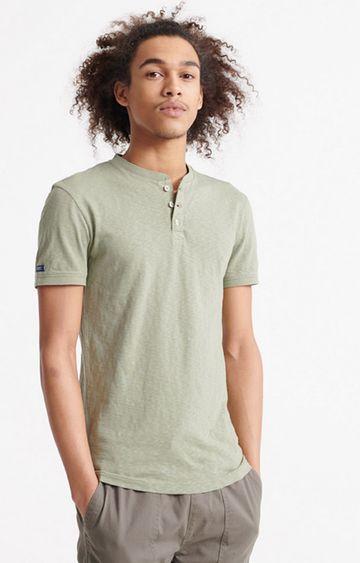 Superdry | Olive Heritage Short sleeve Henley T-Shirt