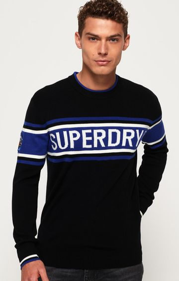 Superdry | Black and Blue Printed Sweater