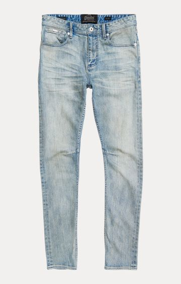 Superdry | Grime Blue Bleach Solid Straight Jeans