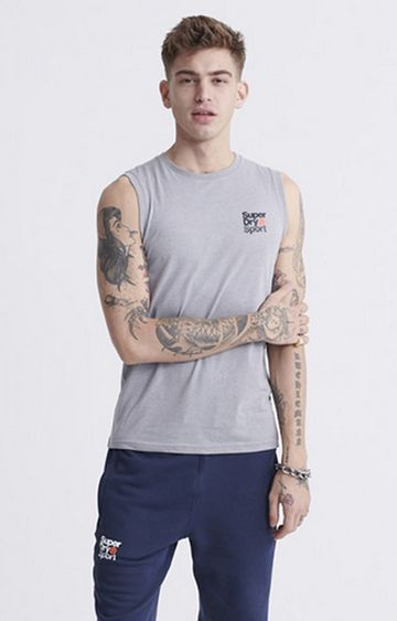 Superdry | Grey Core sport Small Logo Tank Top
