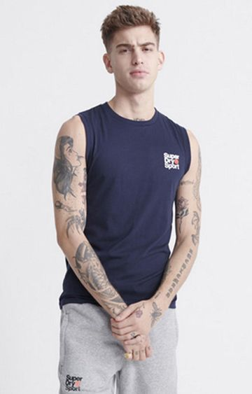 Superdry | Blue Core sport Small Logo Tank Top