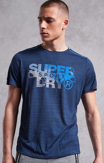 Superdry | Dark Blue Printed Activewear T-Shirt