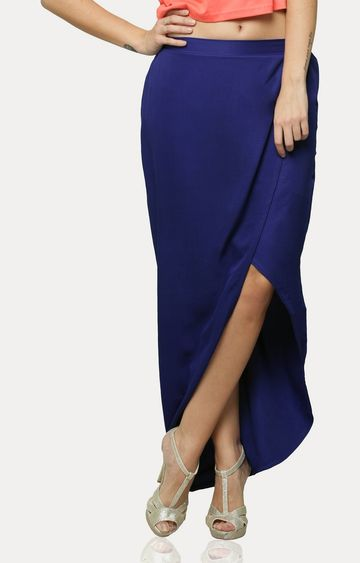 MISS CHASE | Blue Showoff Maxi Skirt