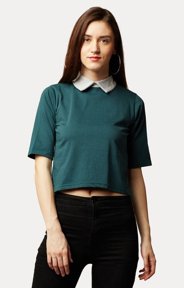 MISS CHASE | Green Collar Neck Solid Buttoned Collared Crop Top