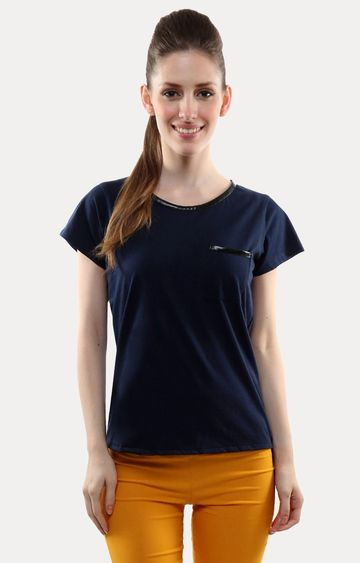 MISS CHASE | Dark Blue Solid T-Shirt