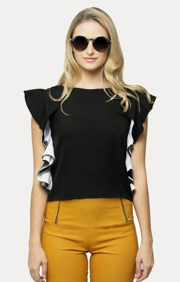 MISS CHASE | Black Rock The Ruffle Top