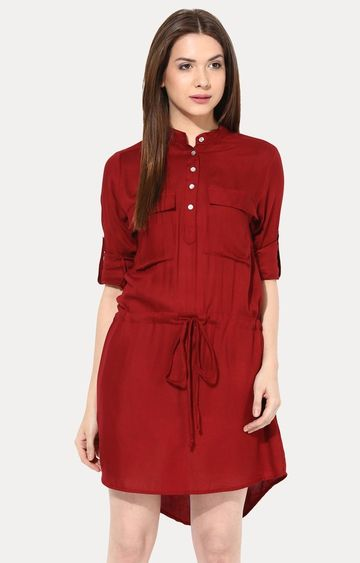 MISS CHASE | Maroon Shirt Dress
