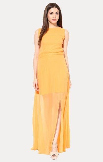 MISS CHASE   Orange High Slit Back Cutout Maxi Dress