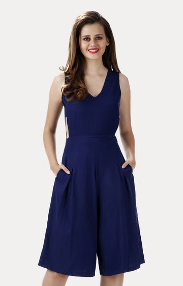 MISS CHASE | Dark Blue Deepest Cuts Culotte Jumpsuit