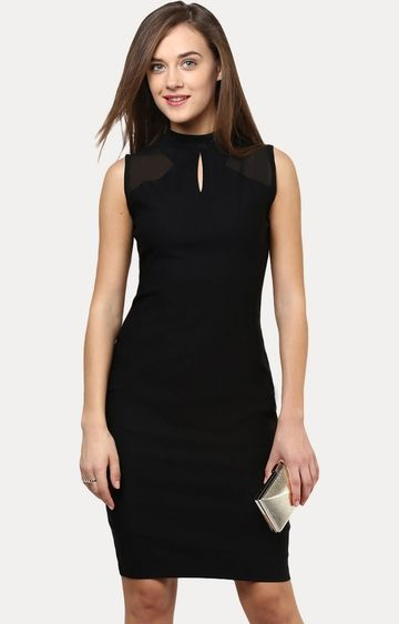 MISS CHASE   Black Crushing Hearts Bodycon Dress