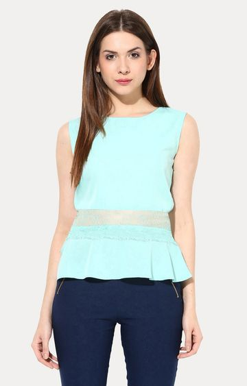 MISS CHASE   Green Peplum Lace Top