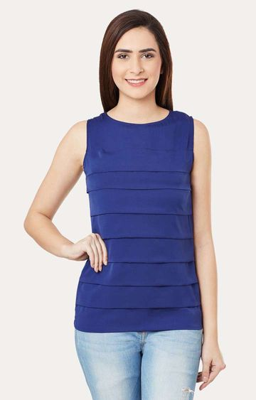 MISS CHASE | Navy Solid Sleeveless Pleated Round Neck Top