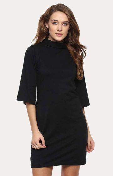 MISS CHASE | Black Solid Quarter Sleeves Round Neck Mini Shift Dress