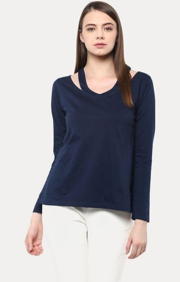 MISS CHASE | Blue Showcase Cut Out Fullsleeve Top