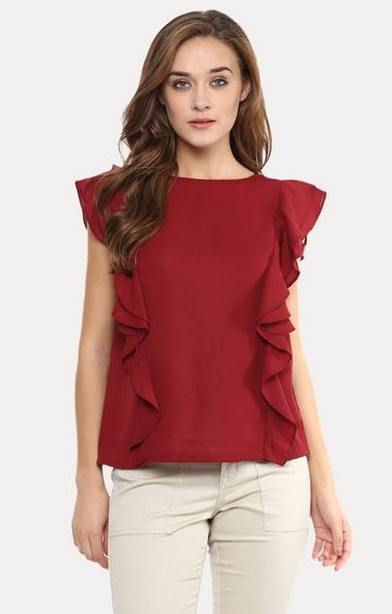 MISS CHASE | Maroon Ruffled Top