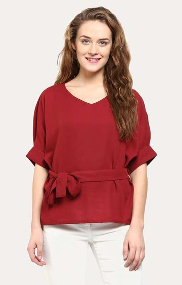 MISS CHASE | Maroon Solid Knotted Half-Sleeve V-Neck Top