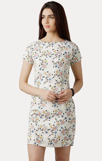MISS CHASE   Multicoloured Round Neck Short Sleeve Printed Mini Shift Dress