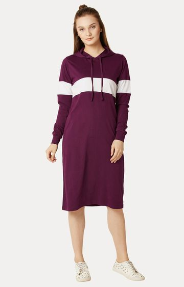 MISS CHASE | Magenta Round Neck Knee-Long Hooded Dress