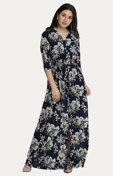 MISS CHASE | Multicoloured Floral V Neck Gathered Flowy Maxi Dress