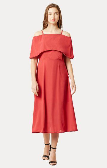 MISS CHASE   Coral Bardot Style Spaghetti Strap Solid Midi Skater Dress