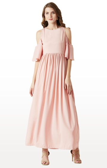 MISS CHASE | Pink Solid Maxi Dress