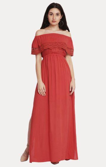 MISS CHASE   Orange Off Shoulder Solid Layered Bardot Style Maxi Dress