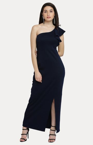 MISS CHASE | Navy Blue Solid One Shoulder Ruffled Maxi Dress