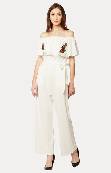 MISS CHASE | Off White Solid Off Shoulder Embroidered Layered Jumpsuit