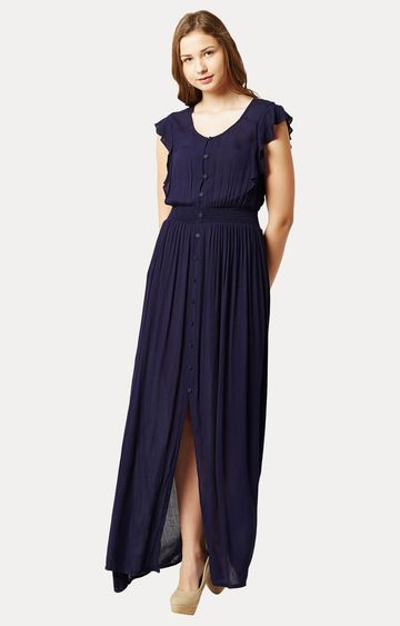 MISS CHASE | Navy Blue Round Neck Solid Ruffled Buttoned Flowy Maxi Dress