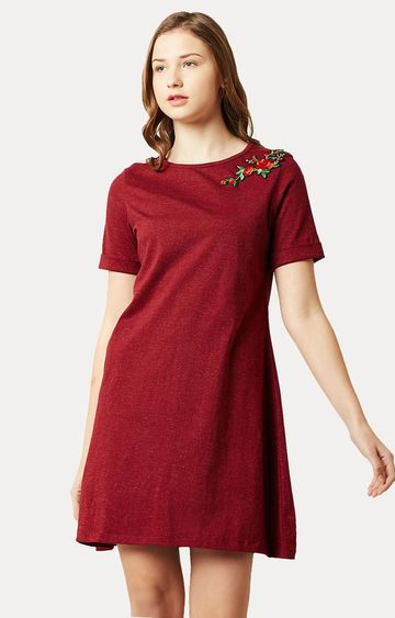 MISS CHASE   Maroon Round Neck Solid Floral Embroidered Mini A-Line Dress