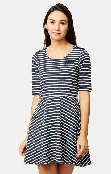 MISS CHASE | Navy Blue and White Striped Mini Skater Dress
