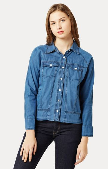 MISS CHASE | Blue Collared Polo Neck Solid Buttoned Denim Bomber Jacket