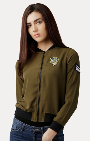 MISS CHASE | Olive Green Round Neck Solid Embroidered Bomber Jacket