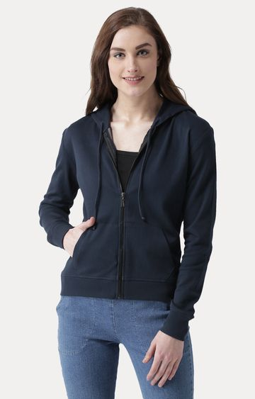 MISS CHASE | Navy Blue Round Neck Solid Hoodie